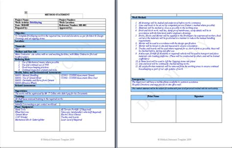 charming method statement template doc contemporary