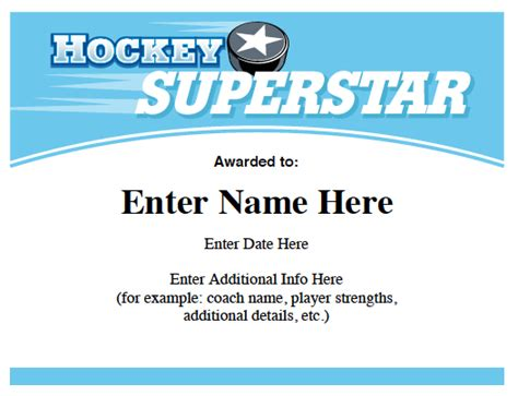 player of the day certificate template hockey certificates templates awards for hockey teams