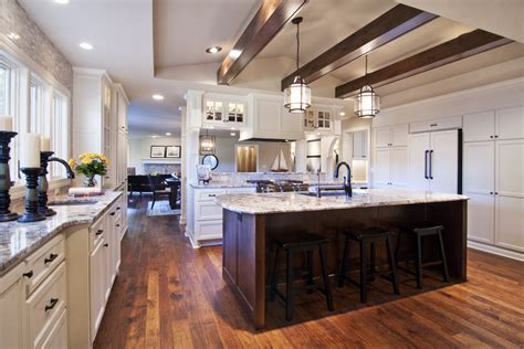 hickory floors with white cabinets hickory wood floors kitchen traditional with counter