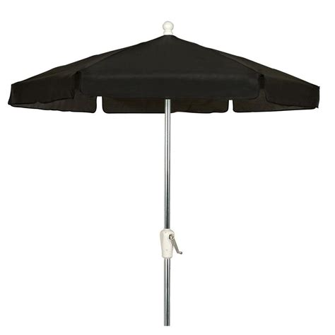 7 5 Ft Hex Garden Patio Umbrella 6 Rib Crank Bright Black Patio Umbrellas