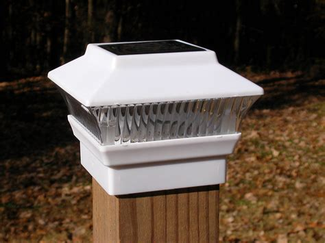 6 White Solar Fence Post Cap Lights 3 7 8 X 3 7 8 Wood Solar Lights For Fence Post Cap