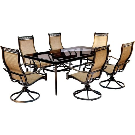Hanover Monaco 7 Piece Aluminum Outdoor Dining Set With Dining Set With Swivel Chairs