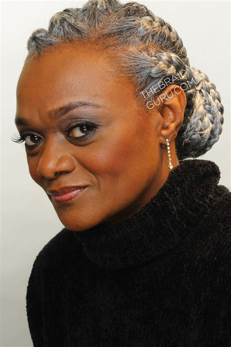braided hairstyles for gray hair grey hair braided hairstyle for black women