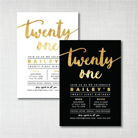 invitation design pinterest modern gold foil 21st birthday printable digital