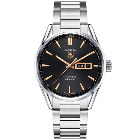 tag heuer calibre 5 day date gold detail