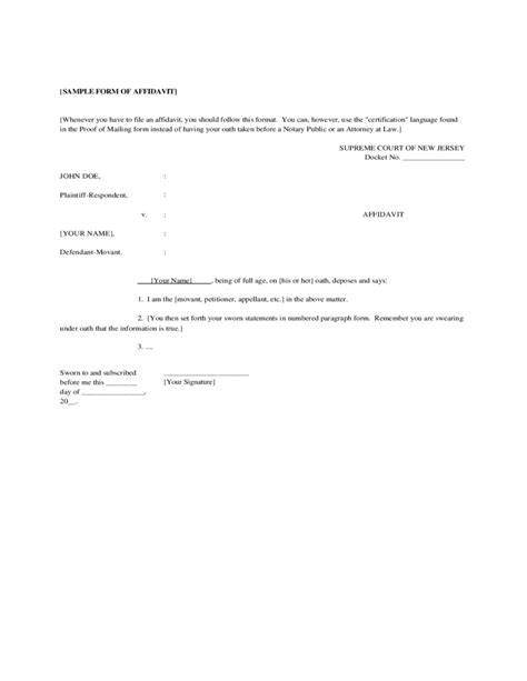 Sample Form of Affidavit   New Jersey Free Download