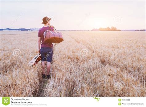 young son leaving home romantic travel background man