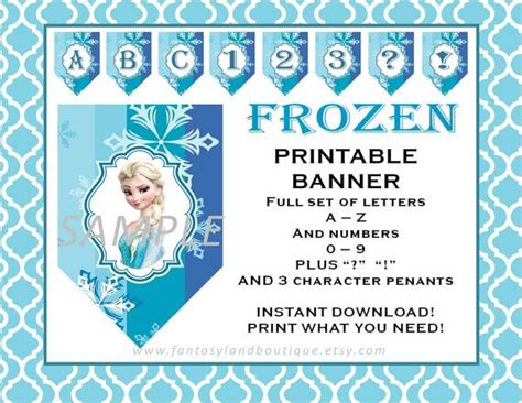 printable frozen banner frozen banner a to z and numbers printable party