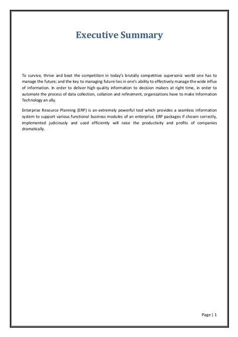 Erp Project Report For Mba erp introduction
