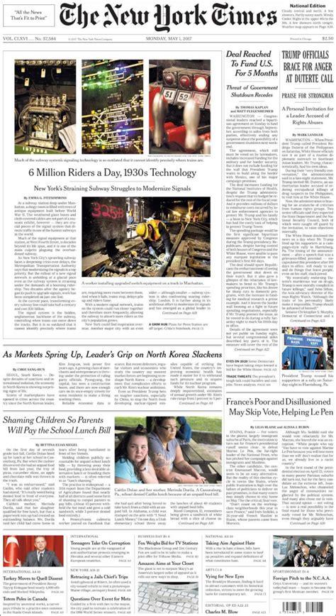 New York Times Mba Internship by Portada De Diarios Nacionales E Internacionales De Este