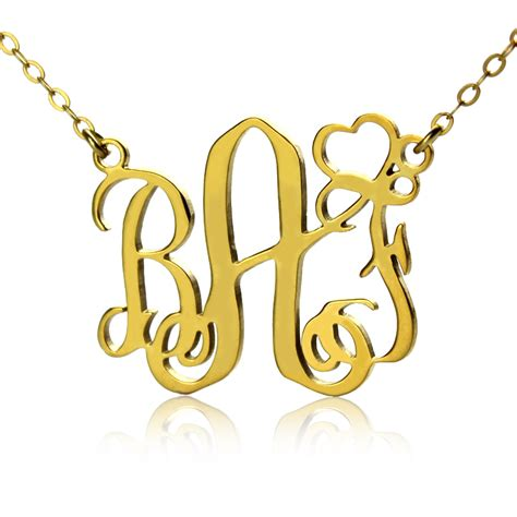 personalized initial monogram necklace solid gold with