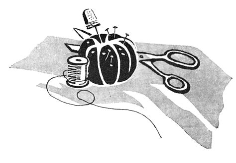 Handmade Graphics - vintage clip sewing supplies pin cushion retro