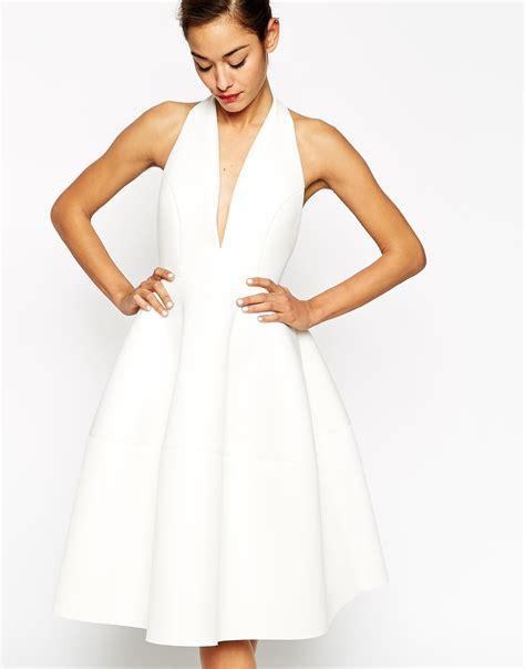 Dress Midi Kalung Premium asos premium scuba backless halter midi dress in white lyst