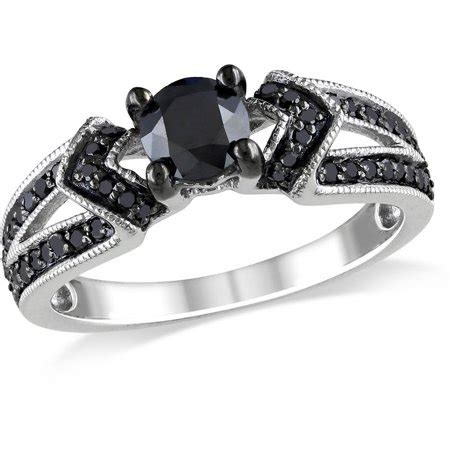 1 Carat Black Engagement Ring by 1 Carat T W Black Sterling Silver Engagement Ring