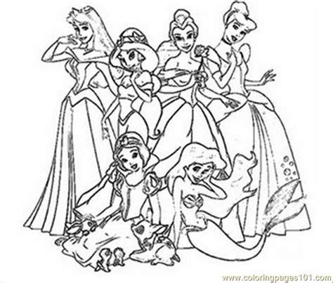 coloring pages with all the disney princesses all princess coloring pages free printable coloring page