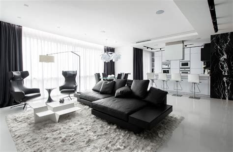 this black and white interior vision is a striking loft in stunning black and white apartment in moscow home design
