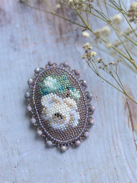beadwork brooch white roses bead embroidery brooch beadwork roses brooch