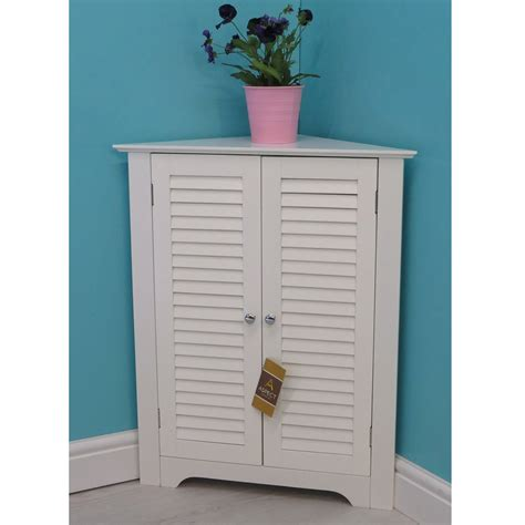 Corner Cabinet Bathroom Storage Vintage Bathroom Corner Cabinet Wooden Storage Unit With Shelves Aspect White Ebay