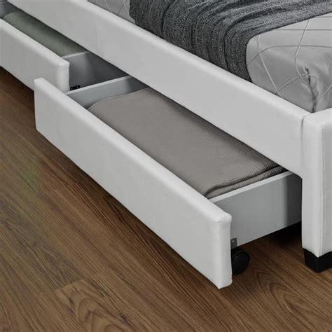 lit enfield blanc led et rangements tiroirs 140x190 cm