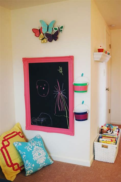 diy chalkboard for playroom diy reuse a large frame and a of sheet metal to