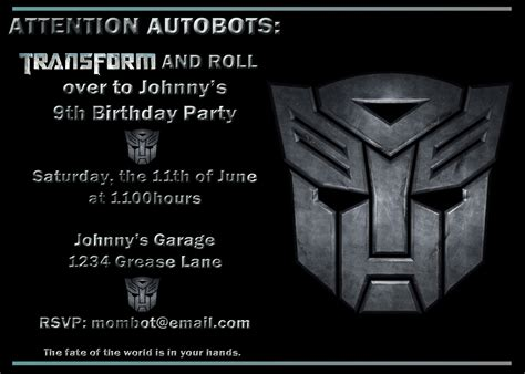transformers birthday invitations template birthday invitesbyme page 2