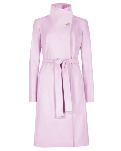 Coat Baby Pink ted baker belted wrap coat in pink baby pink lyst