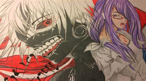 imagenes para dibujar tokyo ghoul drawing kaneki and rize tokio ghoul dibujo de kaneki