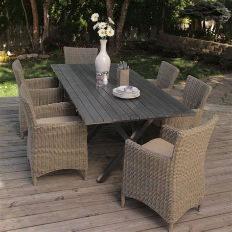 Bella All Weather Wicker Patio Dining Set Contemporary Wicker Look Patio Furniture