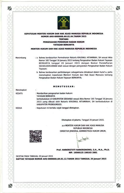 surat keputusan kemenkumham pendirian yayasan berkarya