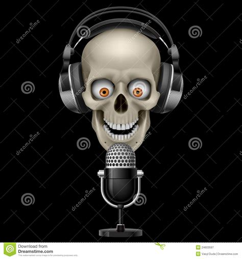 skull with headphones with microphone stock vector image 24603597