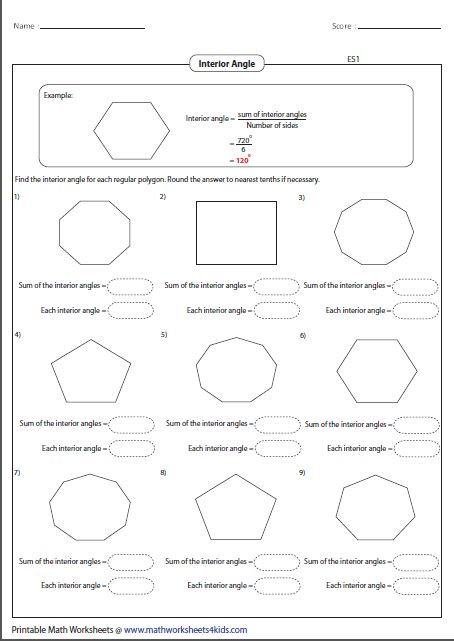 finding interior angles of a polygon worksheet polygon worksheets