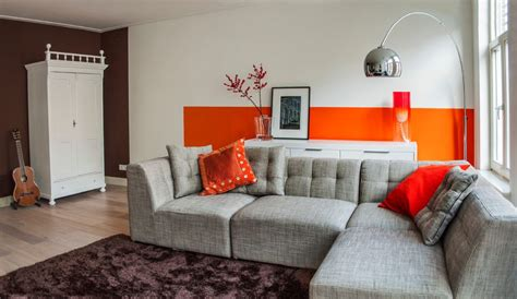 living room with orange accent wall ideas blue walls of orange accent wall living room modern with gray sofa