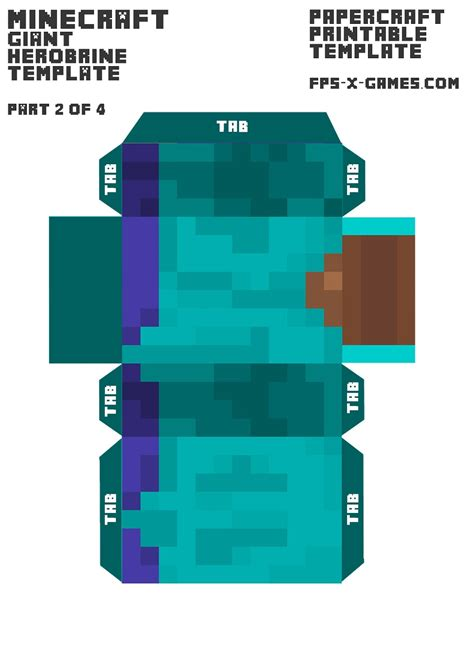 minecraft papercraft templates minecraft herobrine printable template character 2 of 4