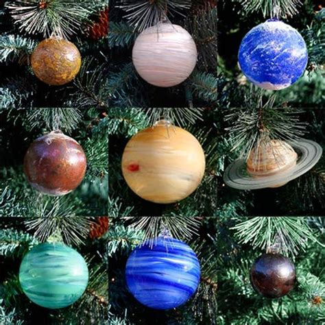 blown glass solar system christmas tree ornament set
