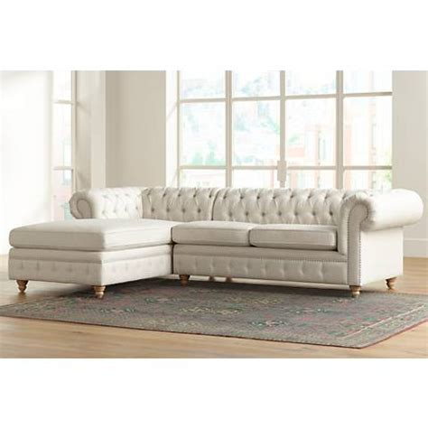 Tufted Sectional Sofa With Chaise Haverhill Tufted Linen 2 Chaise Sectional 9y626 9y629 Ls Plus