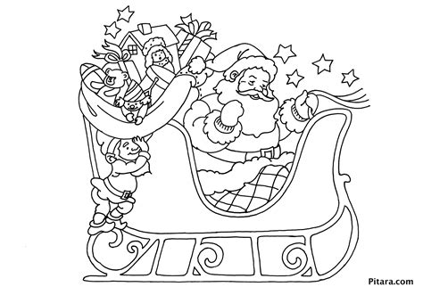 coloring page of santa in his sleigh free santa on sleigh coloring pages