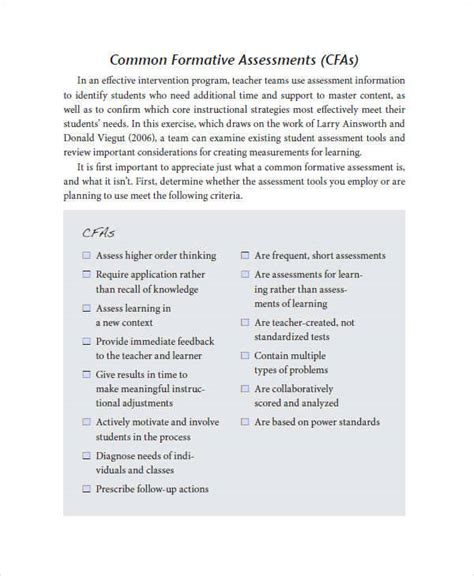 33 Assessment Exles In Pdf Sle Templates Common Formative Assessment Planning Template