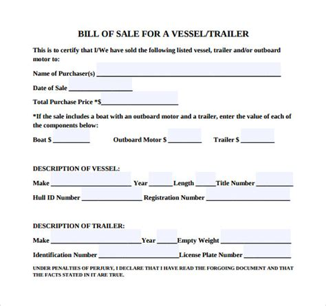 8 Boat Bill Of Sale Templates To Free Download Sle Templates Bill Of Sale Template Pdf