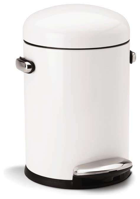 retro kitchen trash can white steel step can modern trash cans by simplehuman