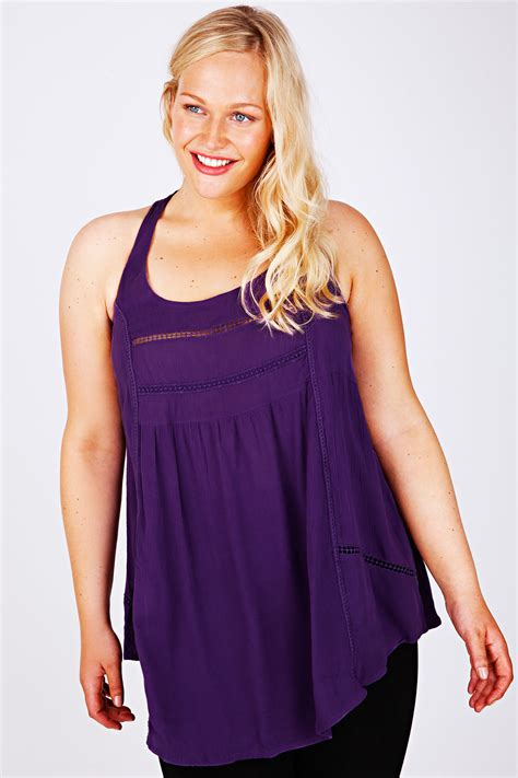 sleeveless swing top purple crochet detail sleeveless swing top with racer back