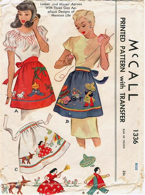 sewing utility apron mccall 1336 vintage 1940s mexican life apron pattern and