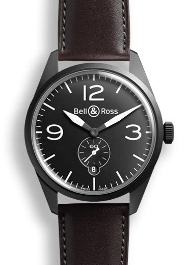 Bell Ross Vintage Aviation Black Steel Circle Brown Leather brv123 bl ca sca bell ross br 123 original carbon 187 watchbase