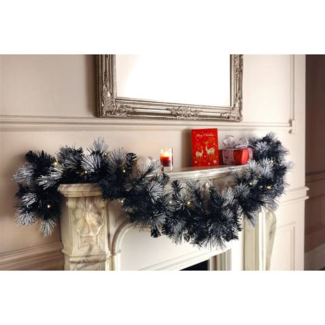 pre lit christmas garland black silver christmas wreath