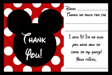 Mickey Mouse Thank You Card Template by Free Printable Mickey Mouse Birthday Cards Luxury