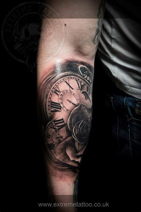 extreme tattoo studio volos clocks and rose done at extreme tattoo piercing inverness