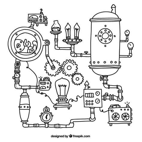 Industrial Design Kitchen steampunk machinery background vector free download