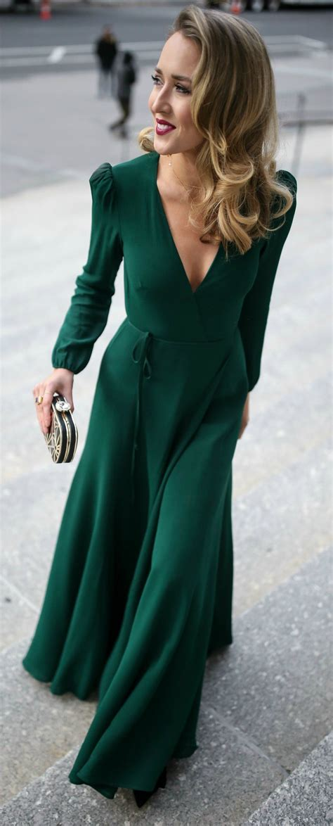 Dress Clutch emerald green sleeve floor length wrap dress black