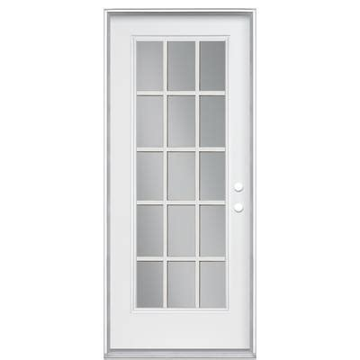 24 Inch Exterior Door Home Depot Masonite Primed 32 Inch X 4 9 16 Inch 15 Lite Grille Low E Argon Filled Steel