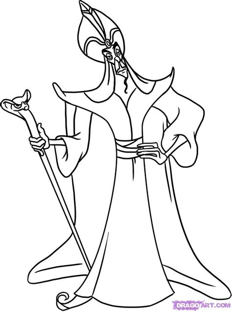 How To Draw Jafar Step By Step Disney Characters Jafar Coloring Pages