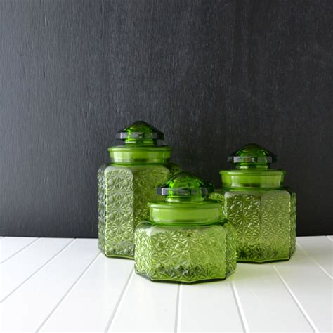 vintage glass canisters kitchen green glass canisters vintage kitchen canisters l e smith